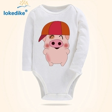 Newborn Baby Boys Girls Rompers 2017 New 0-2 Years Baby Clothes White Cotton Jumpsuit Fashion Cartoon Pig Toddler Overalls T3100