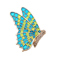 New Arrive High Quality Mother's Day Gift Glod-sone Enamel Crystal Butterfly Beautiful Dress Decoration Brooches Wedding Jewelry