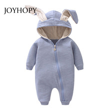 JOYHOPY 1pcs Baby Romper children kids Cute Rabbit Hooded Long Sleeve Jumpsuit Baby Product ,Cotton Newborn Baby Rompers(China)
