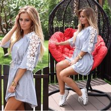 2017 Women Summer Lace Loskutnaya The New Ukraine Style Shirt Dress Black and White Vintage Short Sleeves Random Free Plus Size