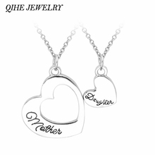 QIHE JEWELRY 1 Set Love Between Mother And Daughter Heart Shaped Love Heart Pendant Necklace Mom Baby Mother's Day Gift Jewelry