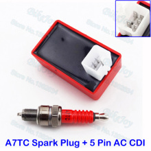 5 Pin AC CDI Box Accensione + Spark Plug A7TC Per Il Cinese 50cc 70cc 90cc 110cc 125cc 150cc Pit Dirt Bike ATV Quad Go Kart