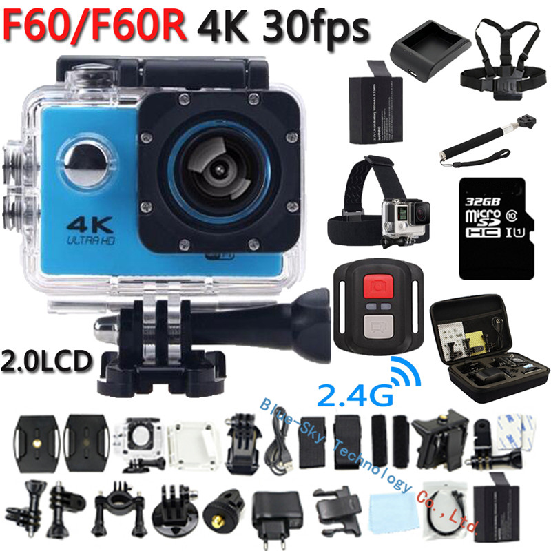 4K Action Camera Original F60 / F60R Remote WiFi 2.0 LCD 170D Len Helmet Cam Underwater go Waterproof pro Camcorder 1080P@60fps(China (Mainland))