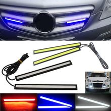 Waterproof 2pcs Cool White/ White Blue/ Red 17CM Universal COB LED Car Daytime Running Lamp DRL Driving Strip Light For Car