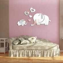 Buy 3D DIY Elephant Hearts Cartoon Mirror Wall Sticker Kids Room Acrylic Living Room Nursery Wall Decal Home Decor Drop for $2.94 in AliExpress store