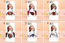 New 30pcs/lots NFL Marilyn Monroe rugby team hard White Skin case cover for iphone 5 5s 4 4S 5c i6 6 6S plus i7 7 plus +(China)
