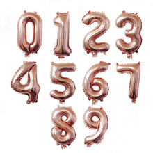 32 inch Rose Gold 0-9 Number foil Balloons Digit Helium Ballons Birthday Party Wedding Decor Air Baloons Event Party Supplies(China)
