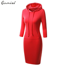 Gamiss Women Hoody Hoodie Hooded Dresses Pockets Autumn Winter Wear Bodycon Casual Lady Pencil Dress Long Sleeve Vestidos