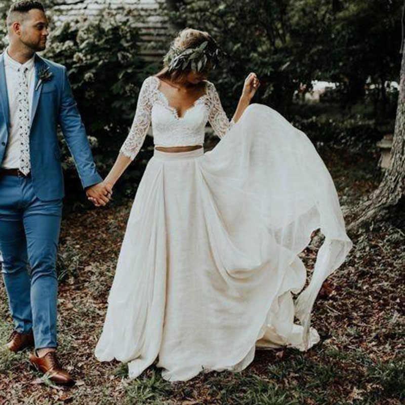 Lorie Boho Wedding Dress 3 4 Long Sleeves A Line White Ivory Chiffon Lace Princess Beach Bride Two Pieces Wedding Gown 2020 New Aliexpress,Simple Long White Wedding Dress