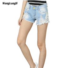 jeans women shorts ladies ripped jeans with lace stitching Decorative flowers low waist torn ripped beggar summer xl wangcangli(China)