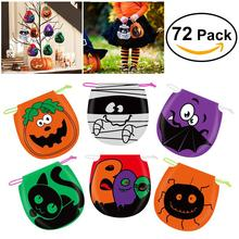 72PCS Halloween Drawstring Goody Bags Gift bag Candy Bag (12pcs for Each Pattern 6 Patterns)