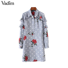 Vadim ruffled dots floral dress back cut out vintage hollow out long sleeve autumn ladies casual mini dresses vestidos QZ3241