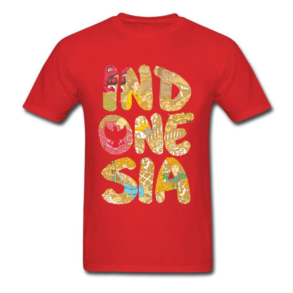 INDONESIA FONT Summer Fall All Cotton O-Neck Tops T Shirt Short Sleeve Summer Tops Shirts Prevailing Printed On T-shirts INDONESIA FONT red