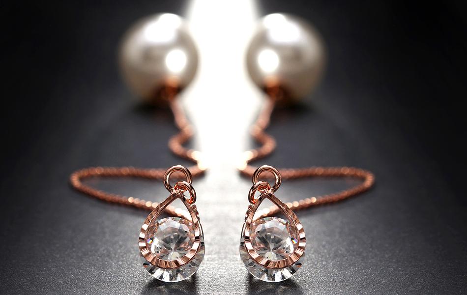 Effie Queen Fashion Cute Ear Wire Earrings Female Models Long Drop Crystal Imitation Pearl Jewelry Dangle Earrings Brincos DDE26 18