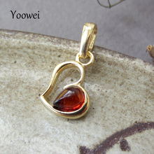 Yoowei Cherry/Honey Baltic Amber Pendants Heart Gold Color Tiny Chic Amber Jewelry Hollow Drop Gemstone Women Girl Amber Pendant(China)