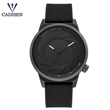 Cadisen black original leather stainless steel watches for mens luxury brand man clocks casual waterproof male wristwatch(China)
