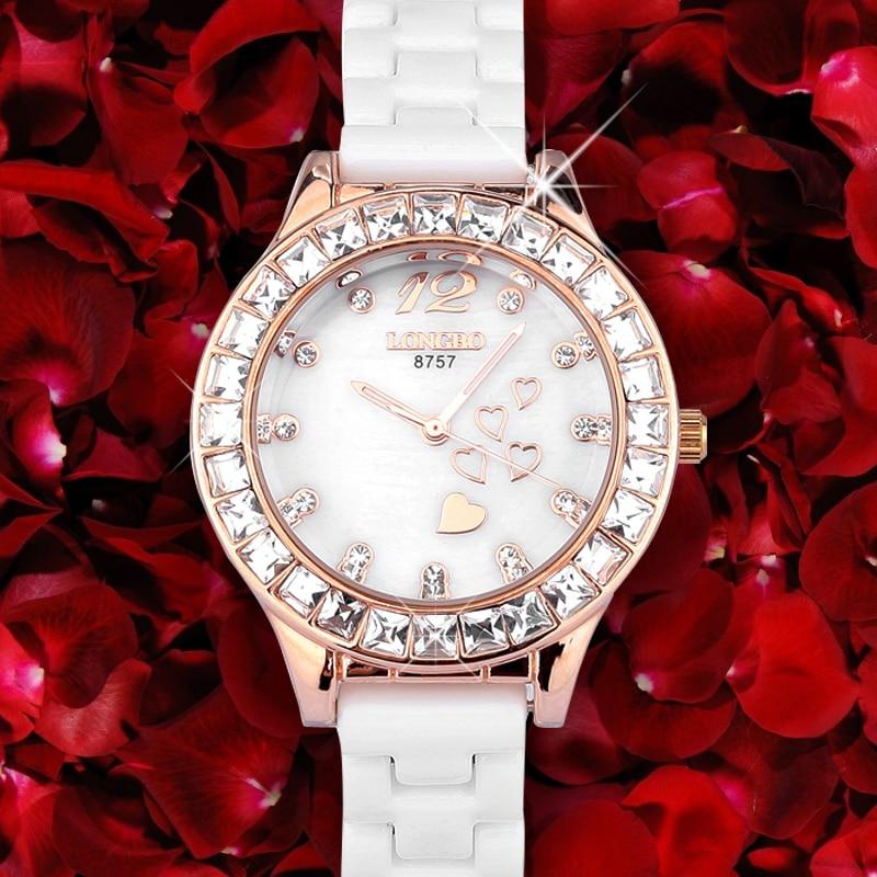 Top Quality LOngbo reloj mujer Luminous Hand Fashion Dress Watches Women White Ceramic Watch Analog Quartz Ladies Wrist watch<br>