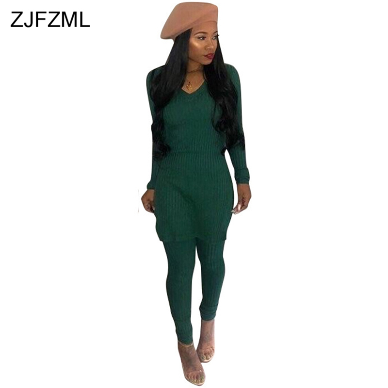 ZJFZML Sexy Knitted Two Piece Sweatsuits Female Clothing V Neck Full Sleeve Sweaters Jumpers + Slim Fit Pants Solid 2 Pcs Outfit