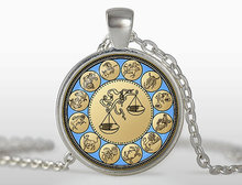 New Vintage Libra Pendant Zodiac Sign Necklace Astrology Jewelry September October Birthday Gift Glass Photo Pendants Unisex HZ1(China)
