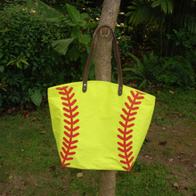 Cotton Canvas Softball Tote Wholesale Blanks Softball purse with PU Handle and Magnetic Snap Closure DOM106281