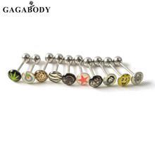 10PCS (a lot) 316L Surgical Steel Metal Tongue Rings Barbells Body Piercing 14G Ear Plug