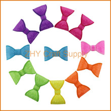 "New Fashion 7colors 70pcs/lot Boutique 2"" Bow Neon Sequin Bow Without Clips Girl Beauty Bows For Kids Hair Accessories Headwear"