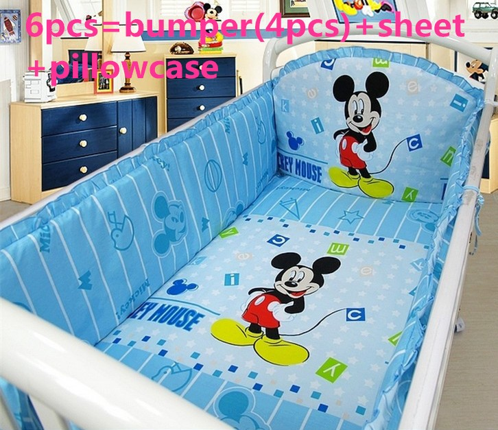 Promotion! 6PCS Mickey Mouse Cot Baby crib bedding set bed linen 100% cotton crib bumper ,include:(bumper+sheet+pillow cover)<br><br>Aliexpress