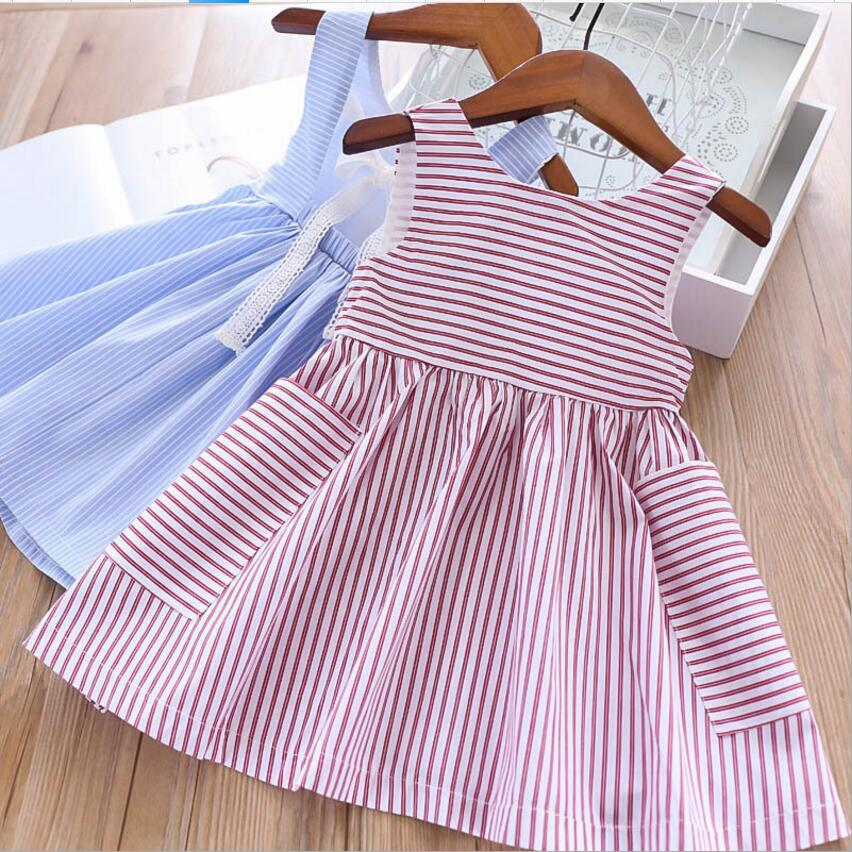 girls summer dress 2019 new kids cotton stripe dresses sweet girl sleeveless dresses fashion children dress
