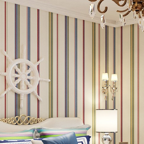 Colourful Wall Paper Stripes Roll 10m Kids DZK145 paper papel de parede  listrado sea style striped<br><br>Aliexpress