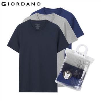 Giordano homens t-shirt curto mangas undershirts algodão sólida masculino t dos homens camisa do verão marca clothing sous vetement homme