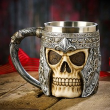 Free Shipping 1Piece 3D Skull Mugs Coffee Mug Double Wall Stainless Steel Cups And Mugs Skull Knight Tankard Dragon Drinkware