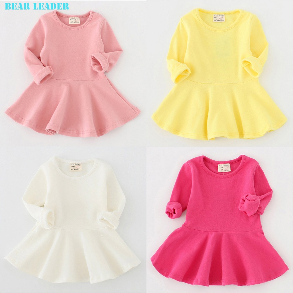 Bear Leader 2016 New Spring Casual Style Pure cotton falbala long-sleeved dress Baby candy color Lovely princess dress<br><br>Aliexpress