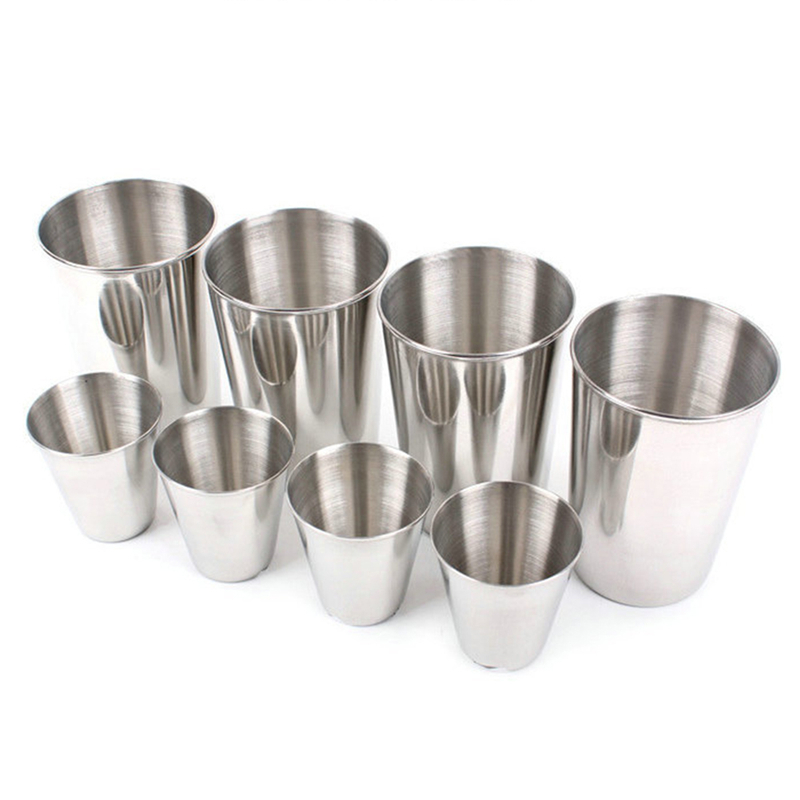 4pcs/set Stainless Steel Cups Outdoor Travel Tableware Drinkware Wine Beer Whiskey Cups