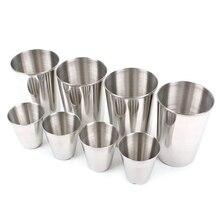 4pcs/set Stainless Steel Cups Outdoor Travel Tableware Drinkware Wine Beer Whiskey Cups