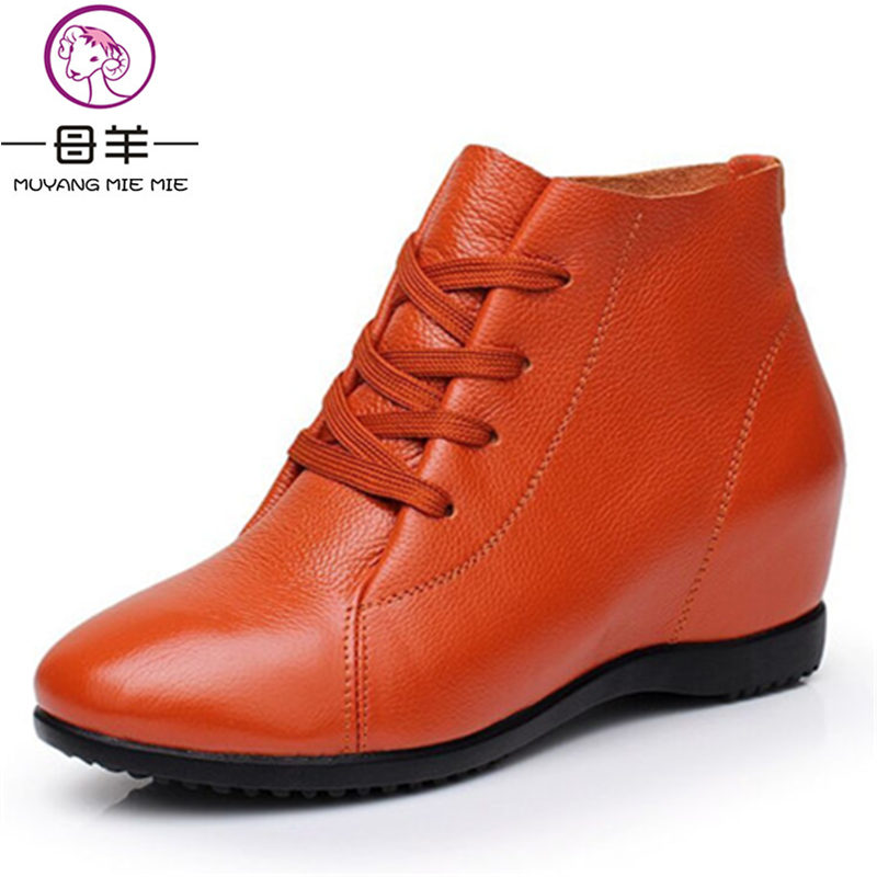 MUYANG MIE MIE Size 33-43 Women Shoes Woman Genuine Leather Wedges Boots Height Increasing Ankle Boots Women Boots<br>