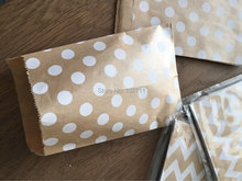 240(10packs) 10x15cm Small white dot kraft paper bags,polka dot chevron goodie bags ,Food Bags,Gift Wrapping bags