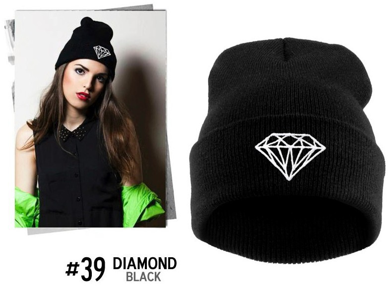Fashion Diamond Hip-hop Cap/hat  With DIAMOND Printed Beanie Women/Men Winter Hat WholesaleÎäåæäà è àêñåññóàðû<br><br><br>Aliexpress