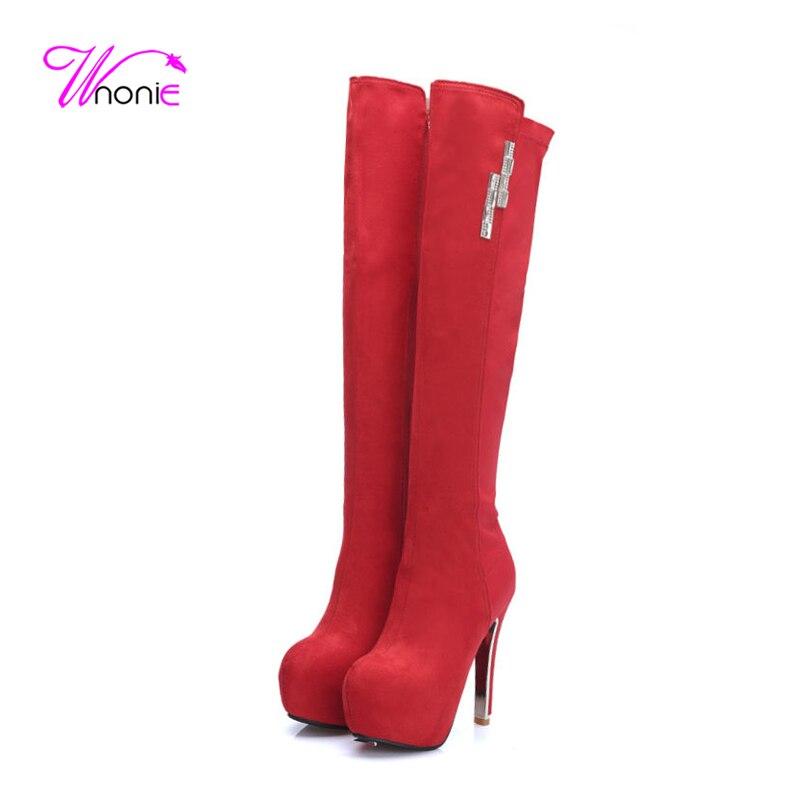 2017 Women Shoes Long Boots Thigh High Overknee High Heel Platform Flock Lycra Patchwork Zipper Dress Party Winter Ladies Shoes<br><br>Aliexpress