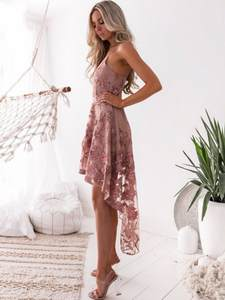 Party Dress Short Cocktail-Gowns High Front Cheap Embroidery DQG393 In-Stock Long-Back