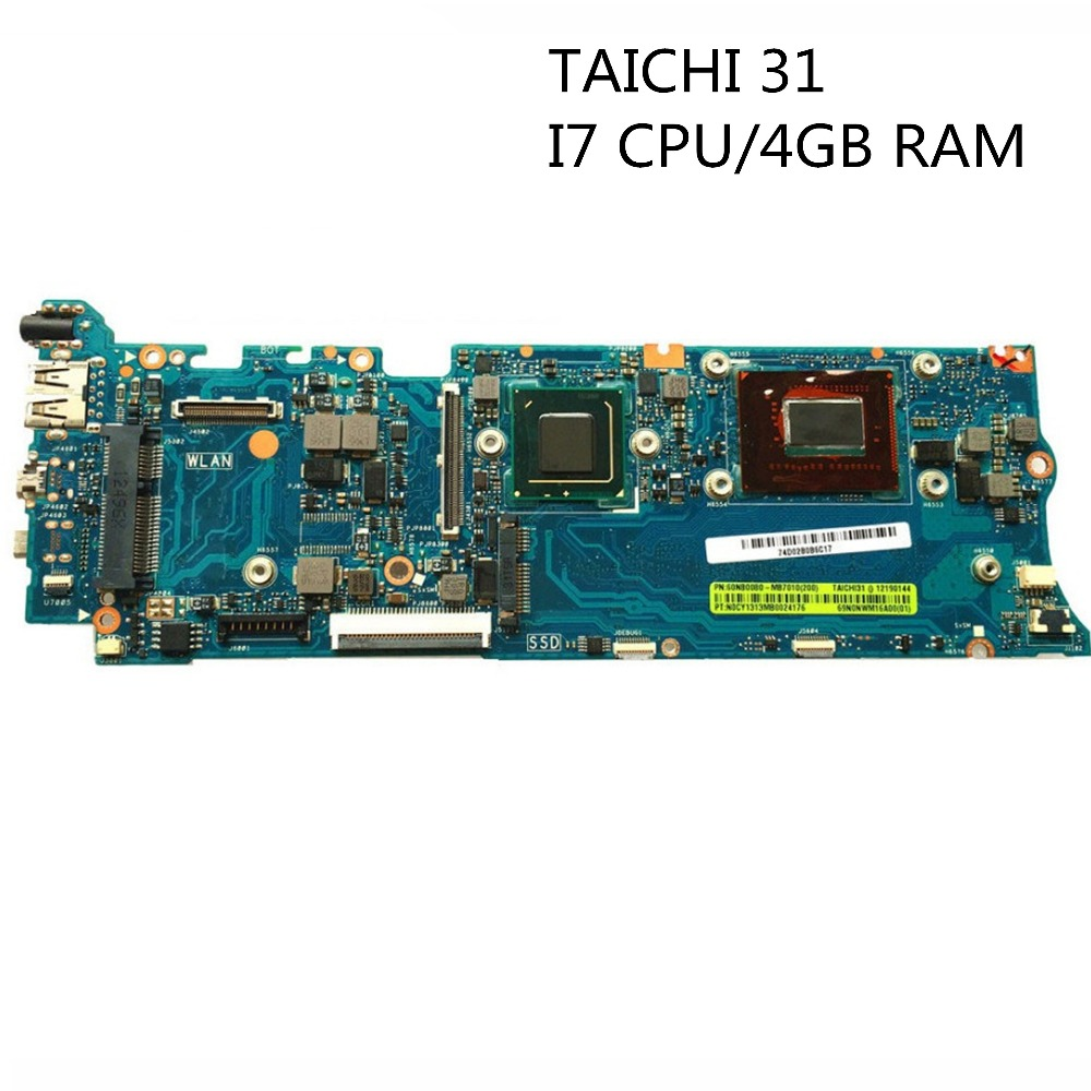 MLLSE For Asus TAICHI31 Laptop Motherboard TAICHI 31 Mainboard I7-3537U CPU 60NB0080-MB7010 Fully Tested