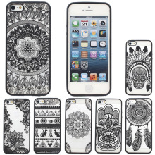 HONEY TPU PC printing Black or White Case for iPhone 5 5s SE 6 6s plus protector shell skin back cover for cell phone lace
