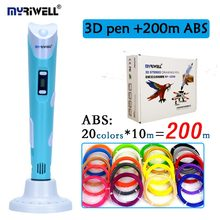 Original myriwell 3D pen 2nd generation RP-100B with ABS/PLA filament LCD display screen kid diy printing pen christmas gift(China)