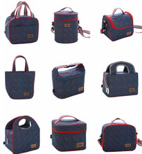 2017 Factory Sale high quality Denim Lunch Bag Kid Bento Box Insulated Pack Picnic Drink Food Thermal Ice Cooler bag bottle bag