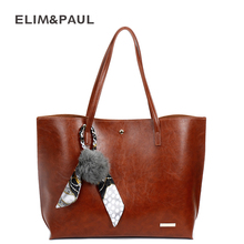 ELIM&PAUL Shoulder Bags Women Fashion PU Leather Totes Woman Handbags Scarves Top-handle Bag Women Leather Bag Female Sac a Main(China)