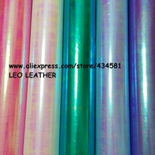 PU Leather Fabric, Faux Leather Fabric, Synthetic Laser Holographic Tela Curero Leather with Radium ColorFul Film P250(China)