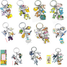 12 models Pokemon Go keychain 5 pcs pendant keyring figure toys Flareon pikachu Jolteon Eevee Glacia Vaporeon kid's