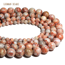 AAA+ Wholesale Red Picasso Round Natural Stone Beads For Jewelry Making Stone DIY Bracelet Necklace 4mm 6mm 8mm 10mm 12mm 15''(China)