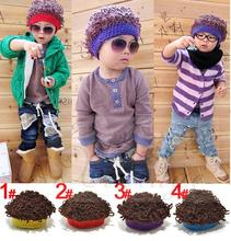Fashion Winter Wig Hats Boys girls Handmade Knitted Children's Curly hat Explosive Head Shape Gift Funny Children Beanies(China)