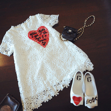 JEMYA 2017 summer new arrival girls dress fashion heart print and white flora children clothes hot sale()