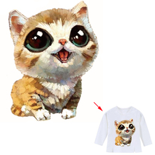 Cute Cat Patch Iron-on Transfers For Clothing A-level Washable Stickers Decoration Print On T-shirt Hat Socks Two Size